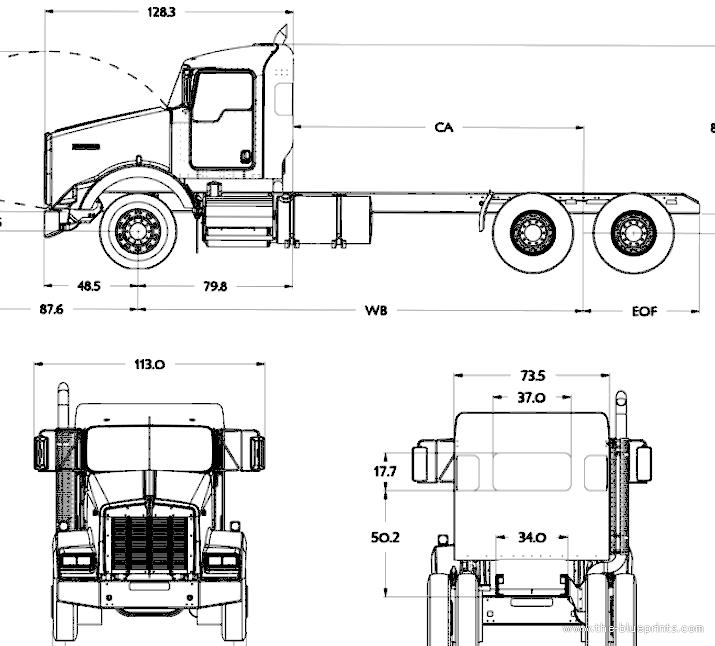 Blueprints > Trucks > Kenworth > Kenworth T800 Day Cab (2016)