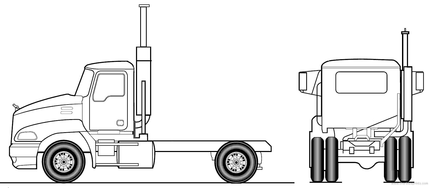 Blueprints > Trucks > Mack > Mack Pinnacle Axle Back