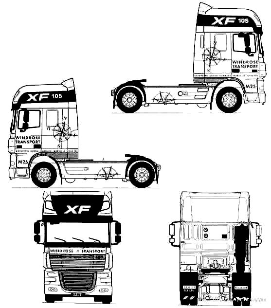 Blueprints > Trucks > Trucks > DAF XF105-3