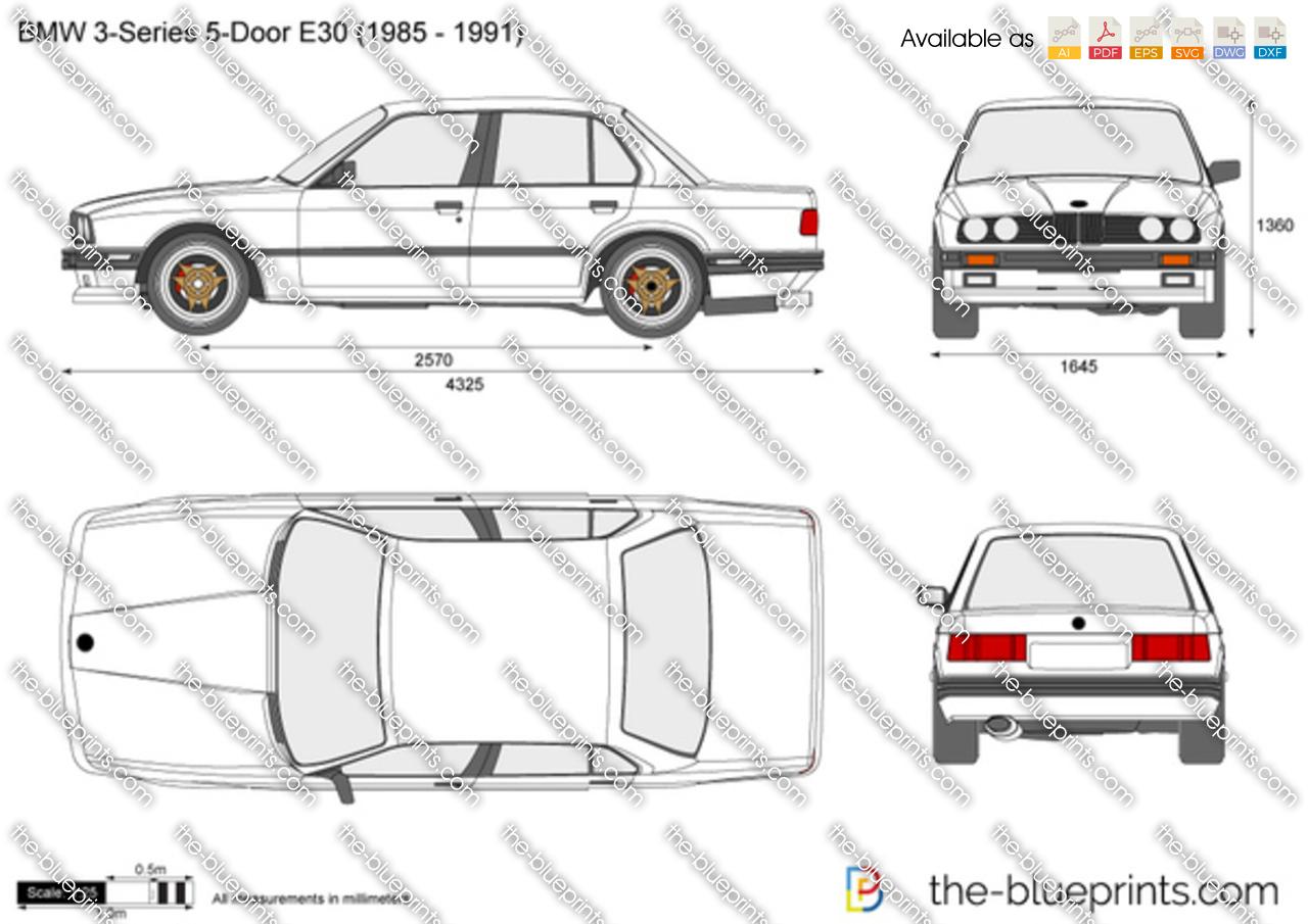 BMW 3-Series 5-Door E30 vector drawing