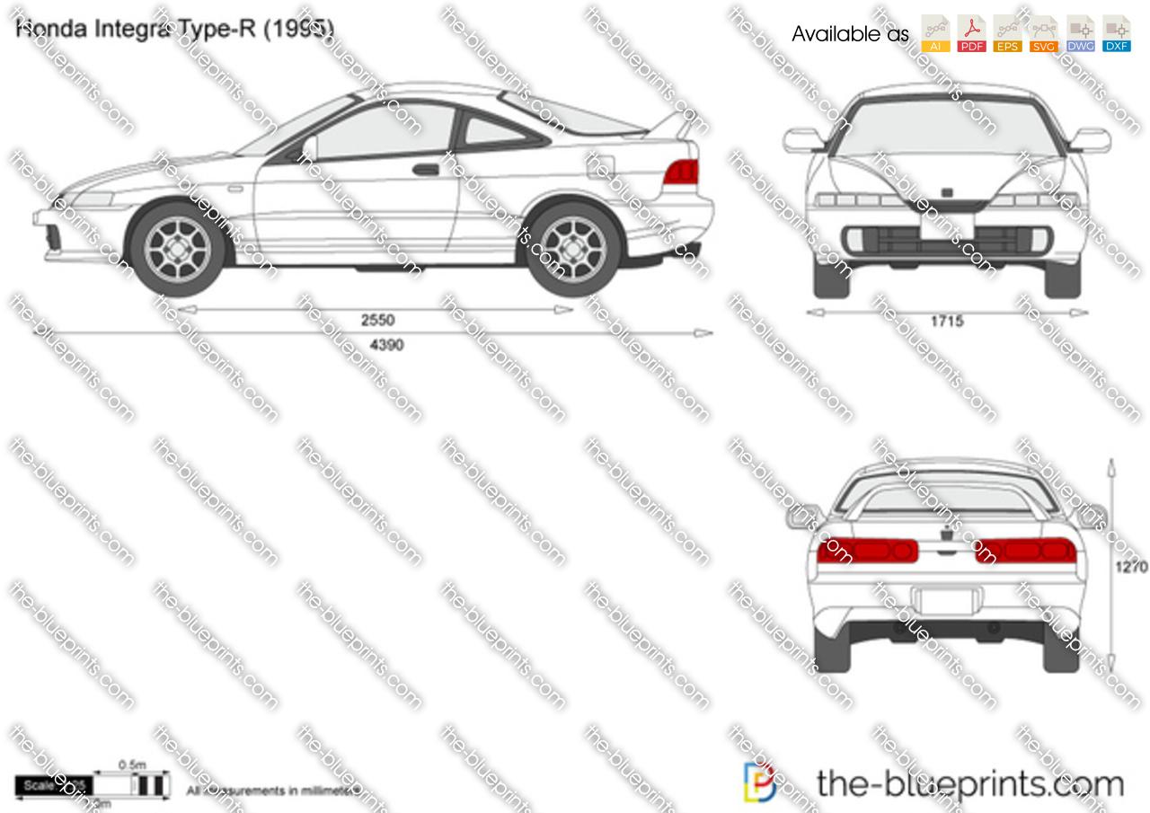 Honda Integra Type R Vector Drawing