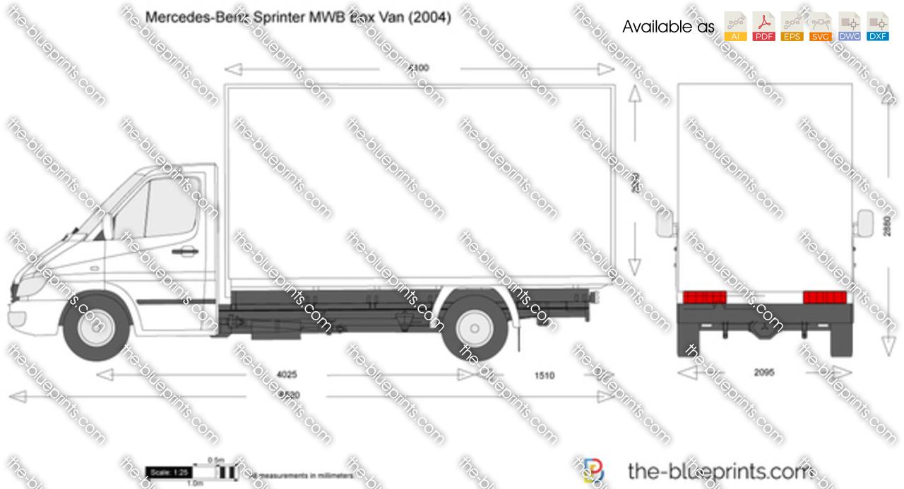 Mercedes-Benz Sprinter MWB Box Van vector drawing