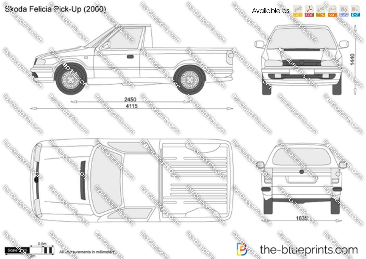 Skoda Felicia Pick-Up vector drawing