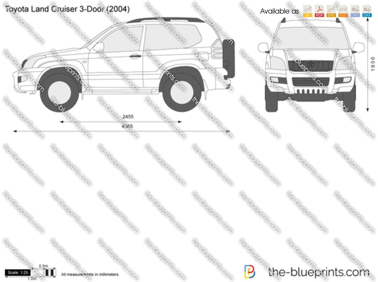 Toyota Land Cruiser 3-Door vector drawing