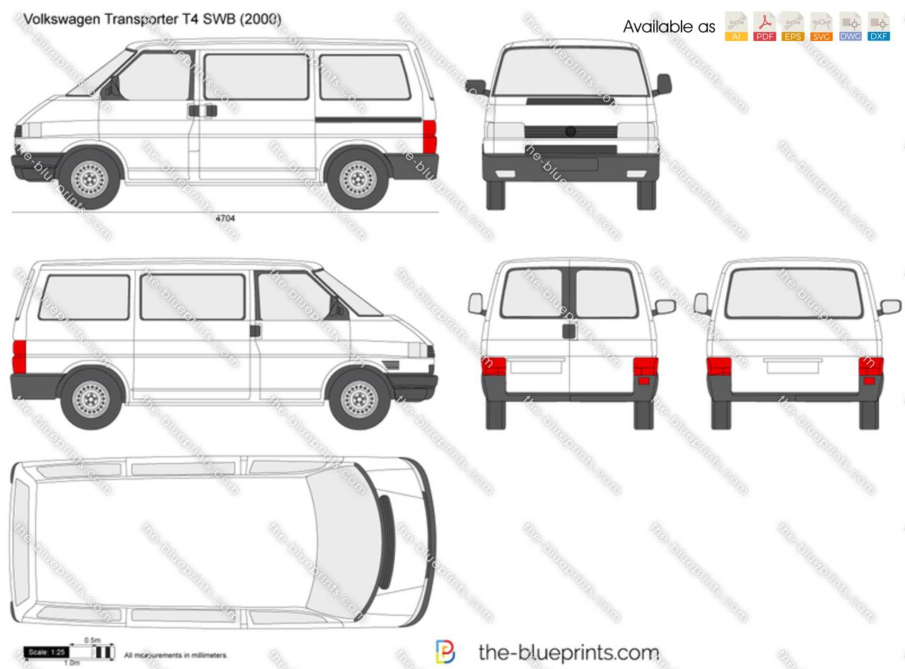 Volkswagen Transporter T4 Swb Vector Drawing