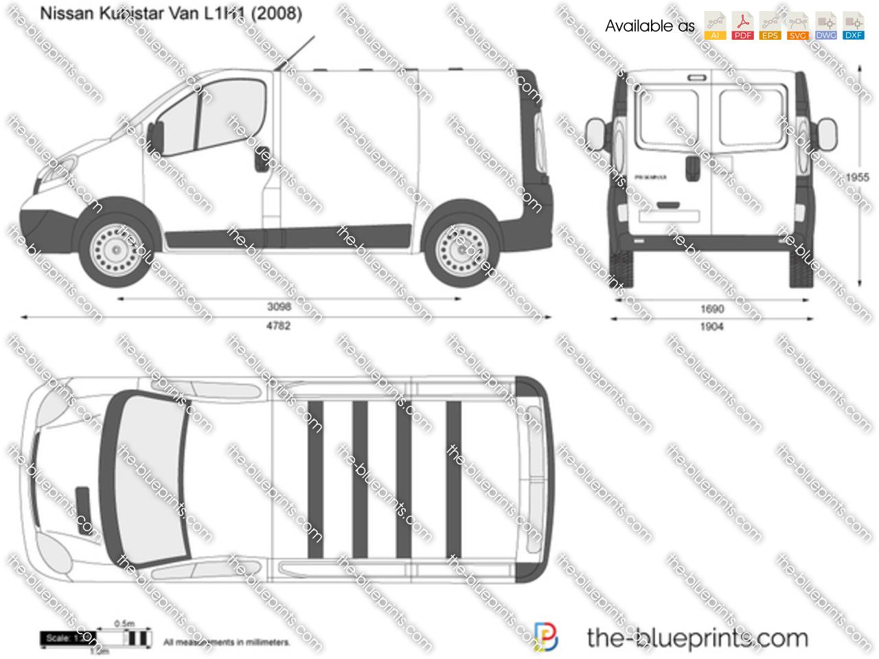 Nissan Primastar Van L1h1 Vector Drawing