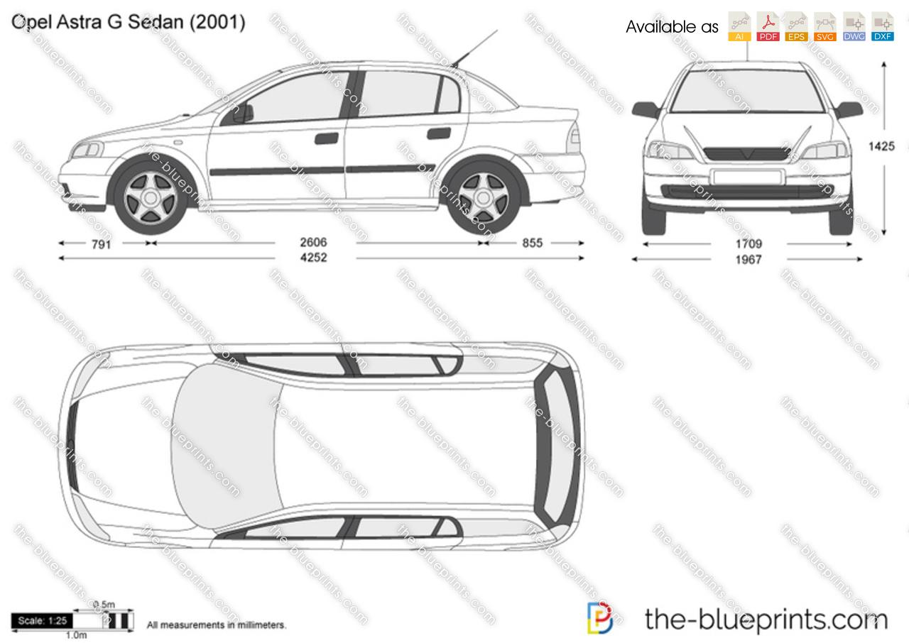 Opel Astra G Sedan vector drawing