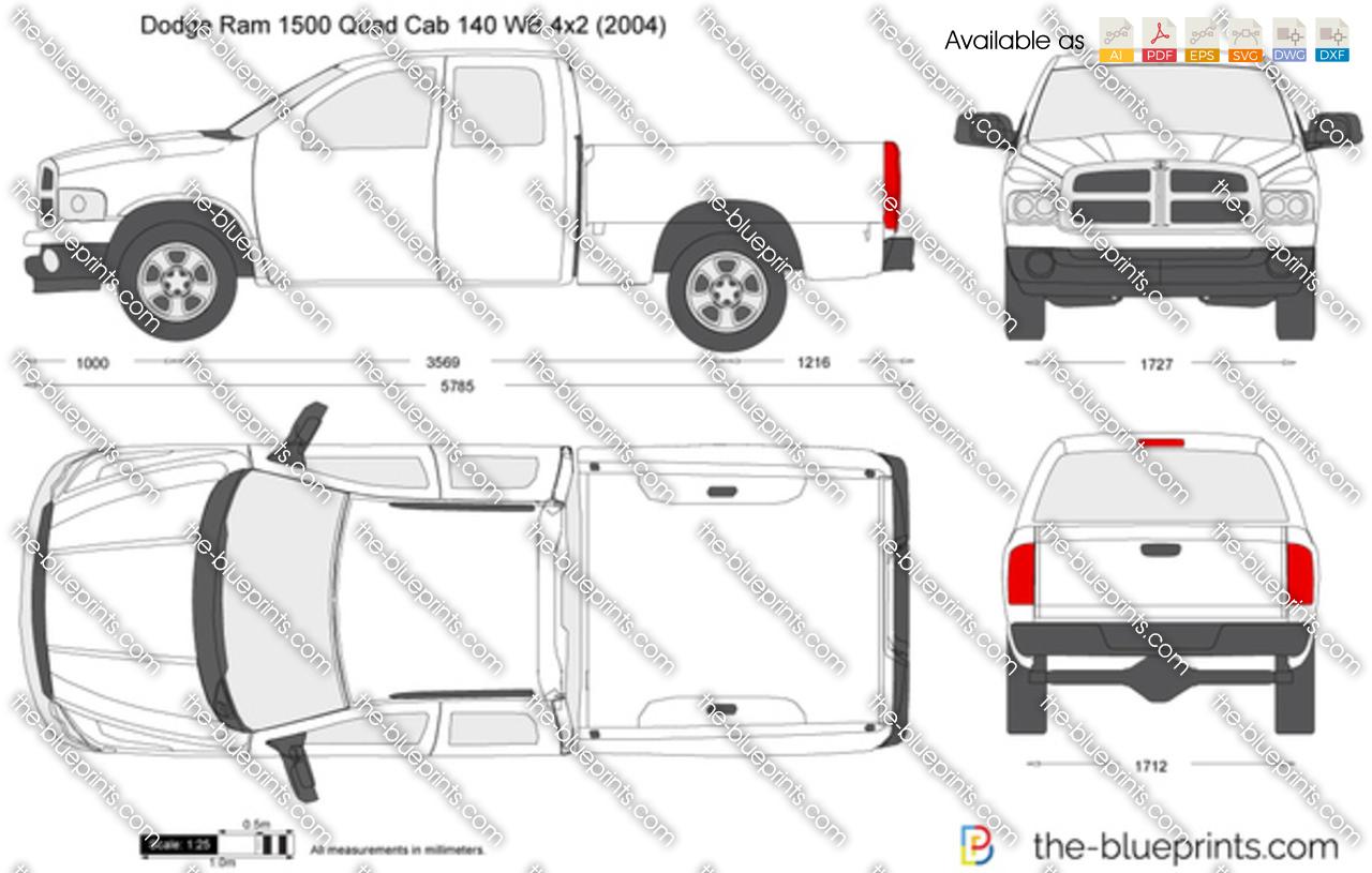 Dodge Ram 1500 Quad Cab 140 WB 4x2 vector drawing