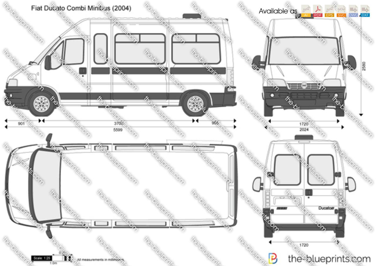 Fiat Ducato Combi Minibus Vector Drawing
