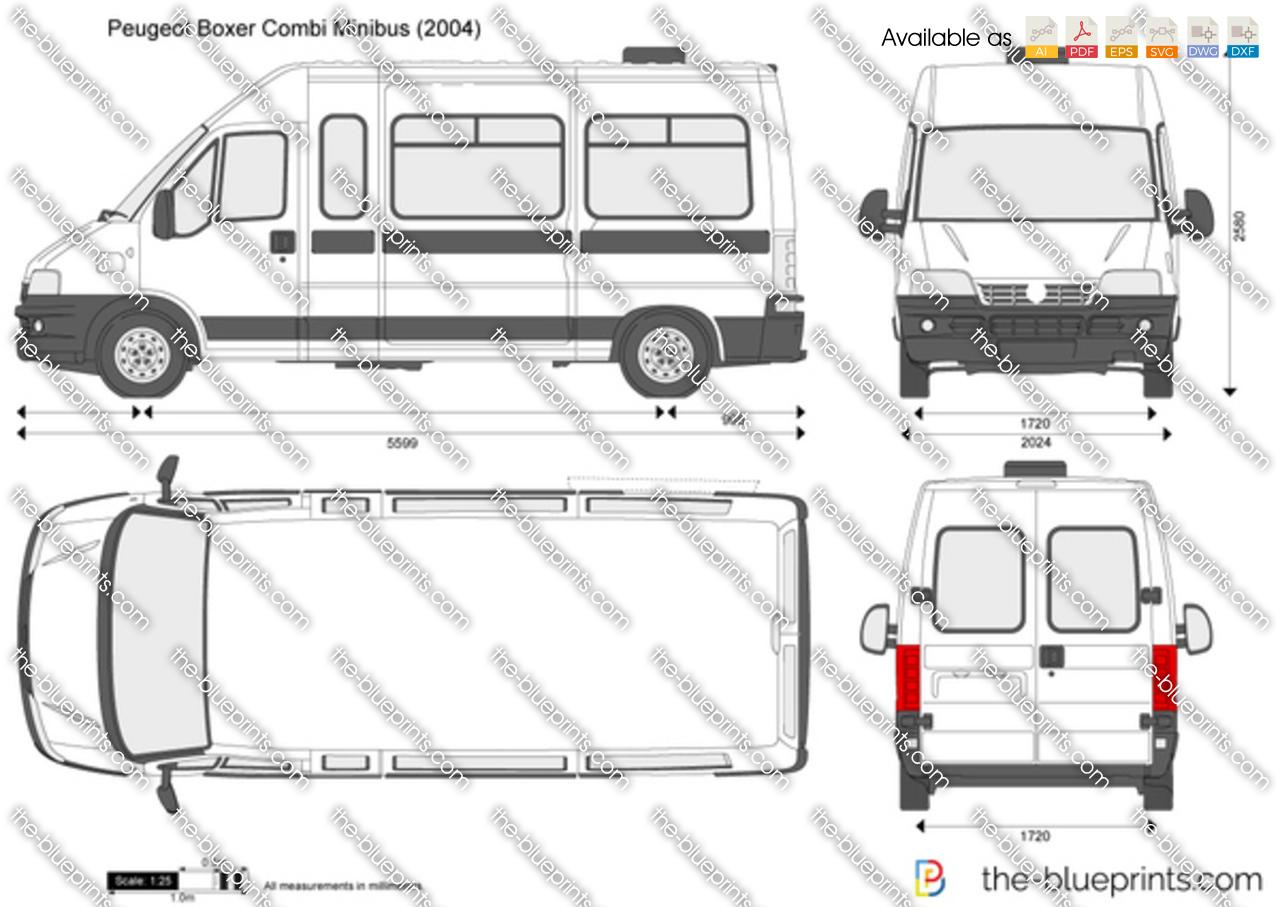 Peugeot Boxer Combi Minibus Vector Drawing