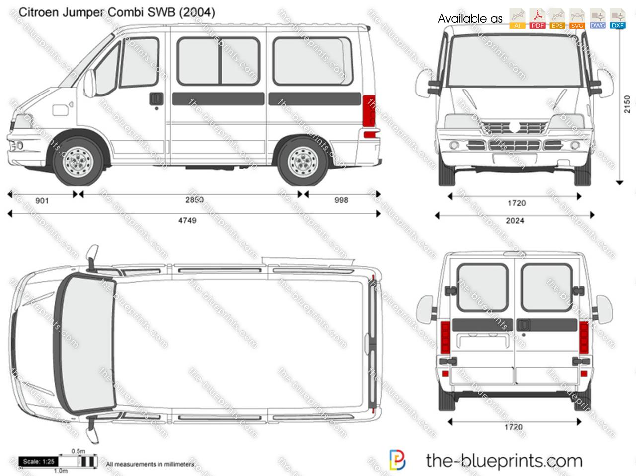 Citroen Jumper Combi SWB vector drawing