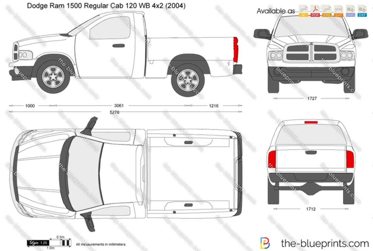 Dodge Ram 1500 Regular Cab 120 WB 4x2 vector drawing