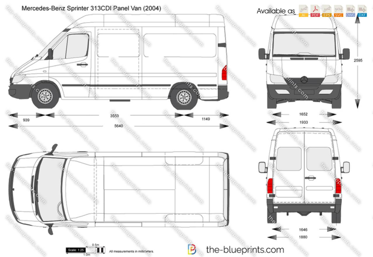 Mercedes Benz Sprinter 313cdi Panel Van Vector Drawing