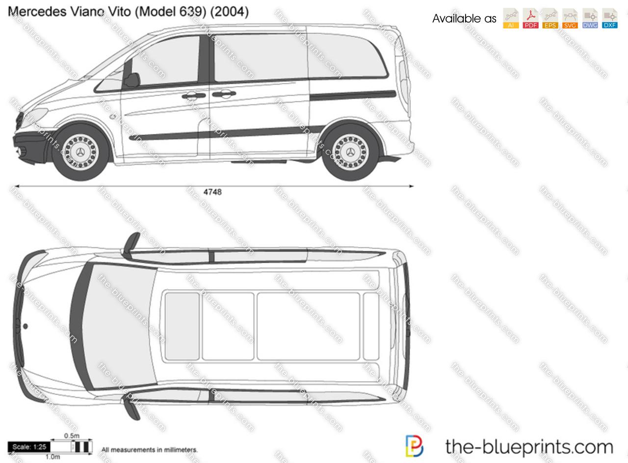 Mercedes-Benz Viano Vito W639 vector drawing