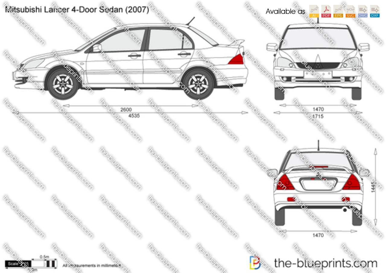 Mitsubishi Lancer 4-Door Sedan vector drawing
