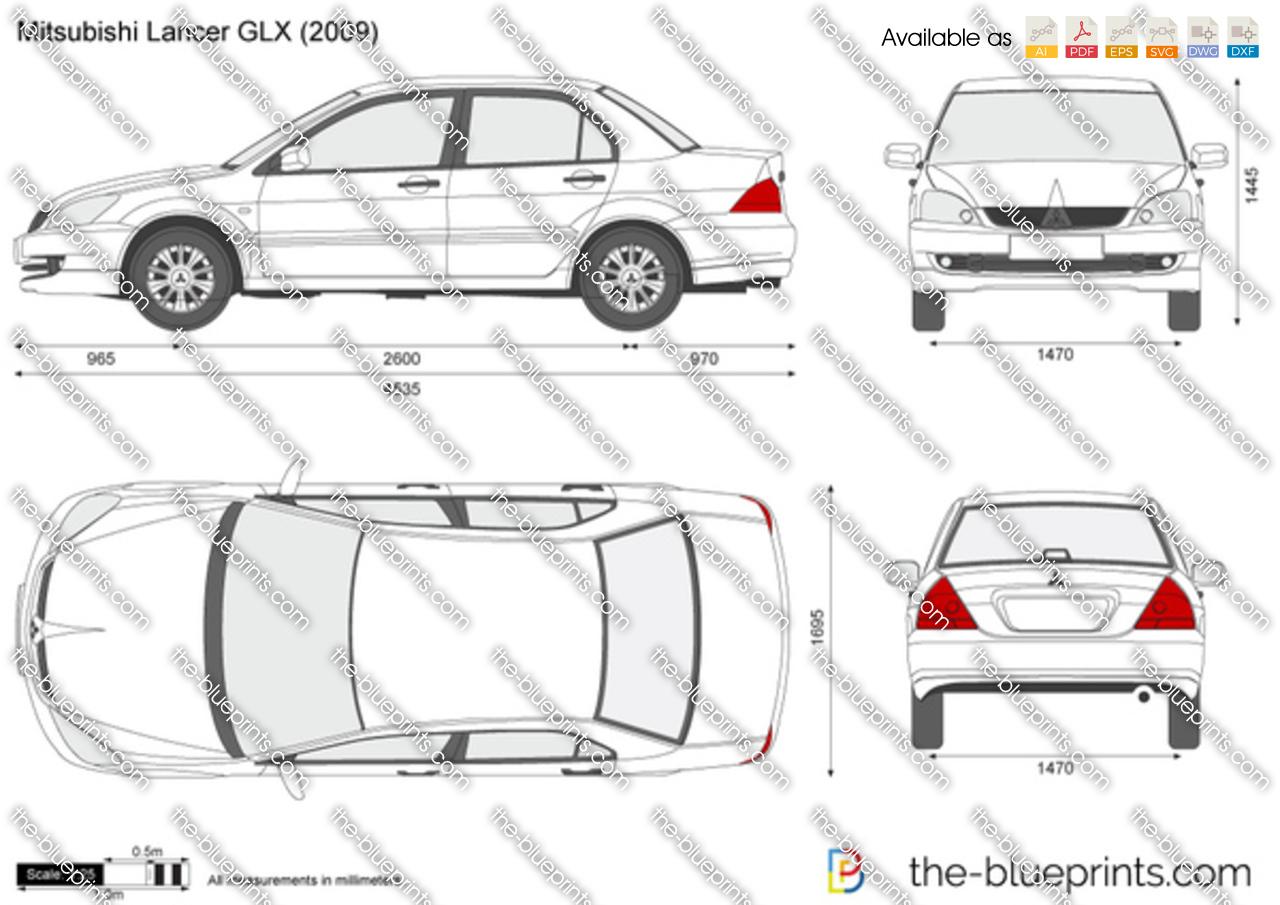 Mitsubishi Lancer Glx Vector Drawing