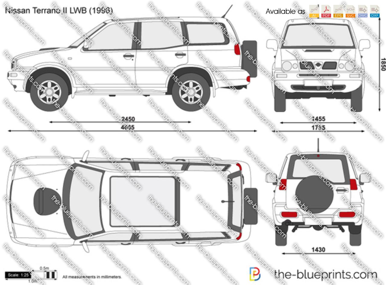 Nissan Terrano II LWB vector drawing