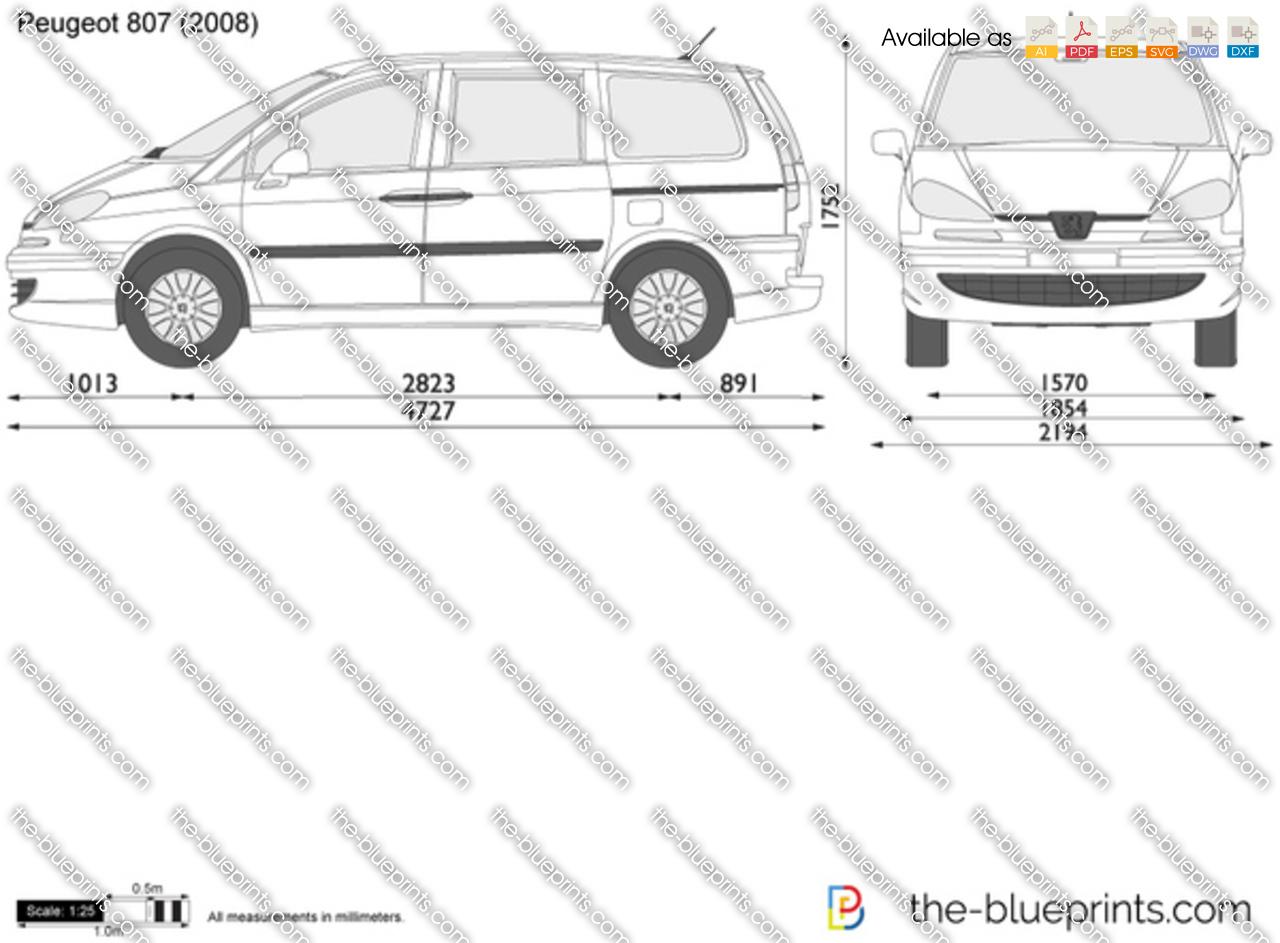 Peugeot 807 vector drawing