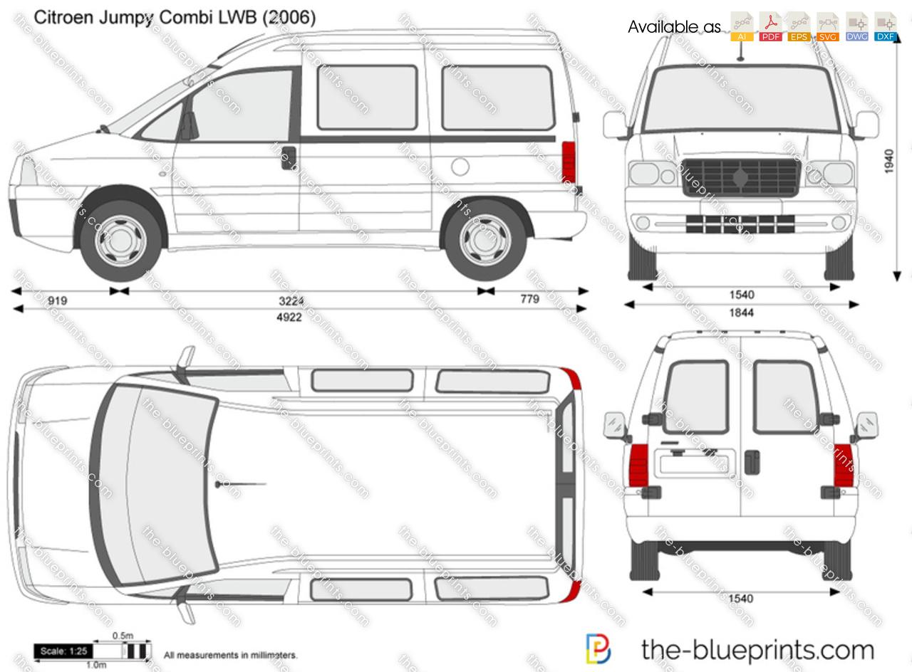 Citroen Jumpy Combi LWB vector drawing