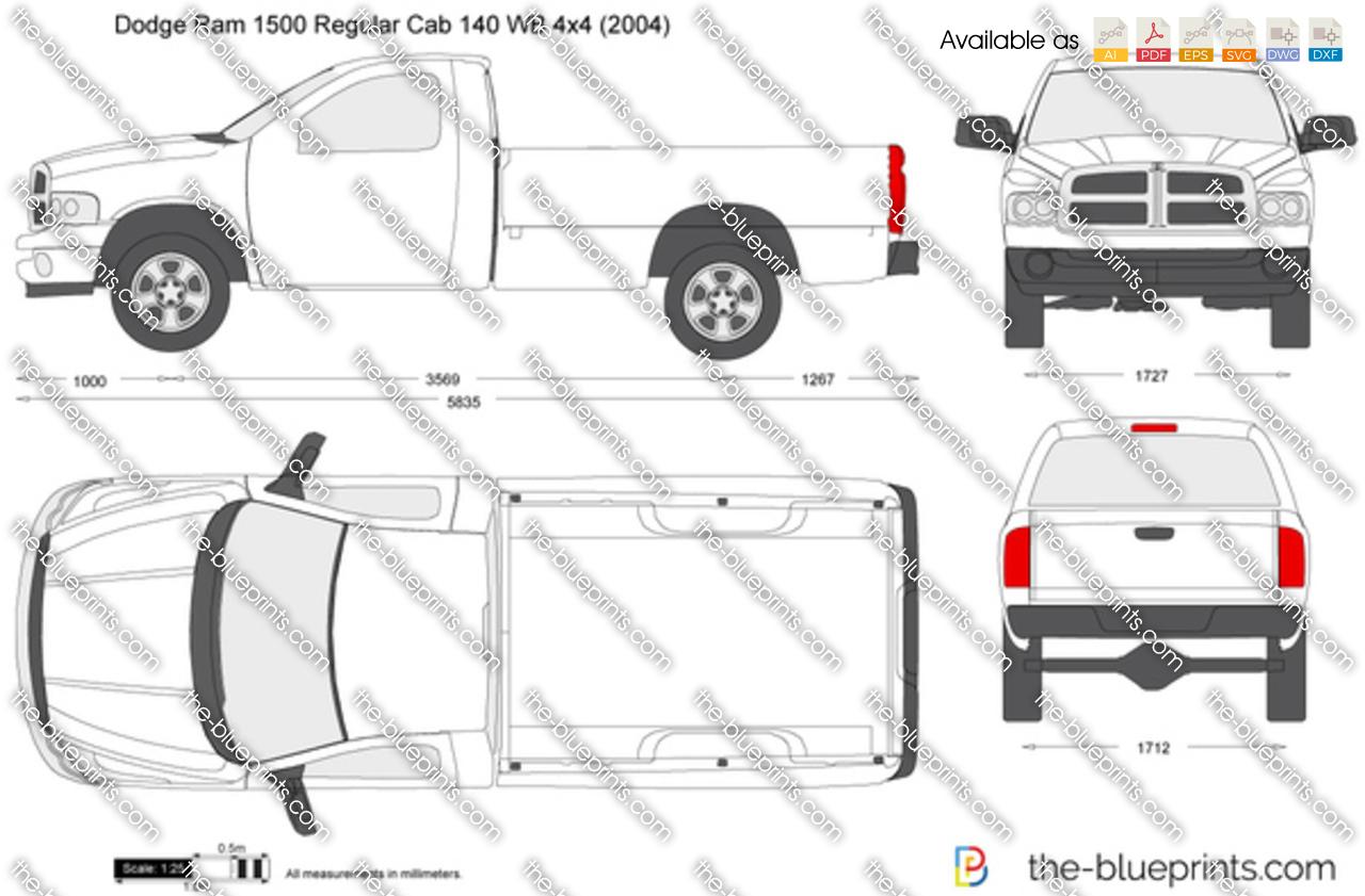 Dodge Ram 1500 Regular Cab 140 WB 4x4 vector drawing