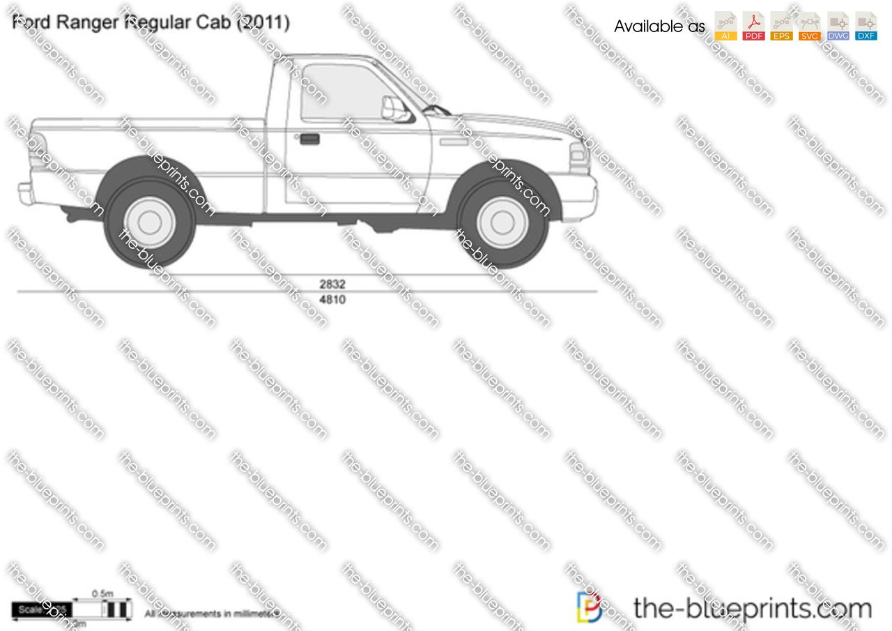 Ford Ranger Regular Cab Vector Drawing