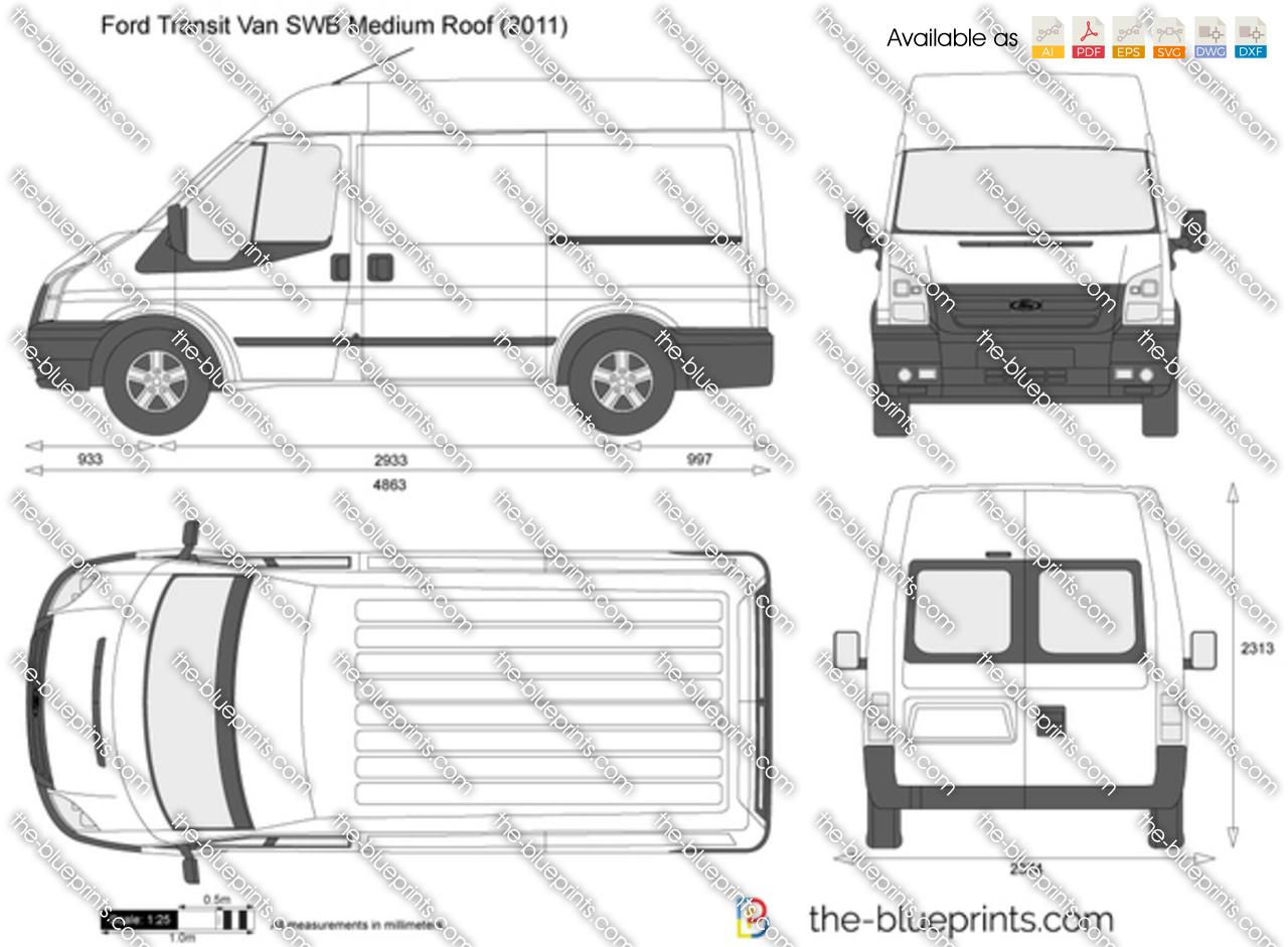 Ford Transit Van Swb Medium Roof Vector Drawing
