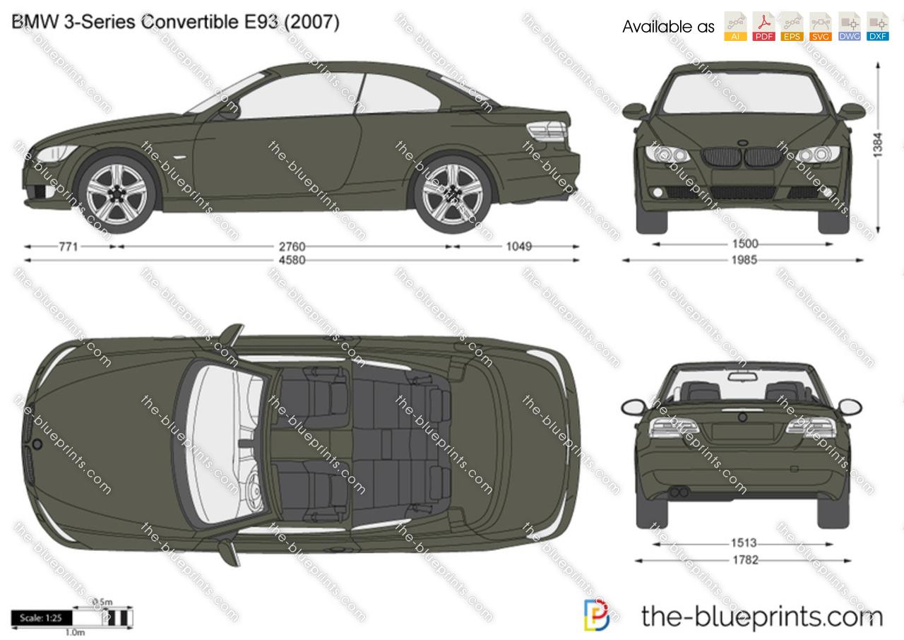 Bmw 3 Series Convertible E93 Vector Drawing