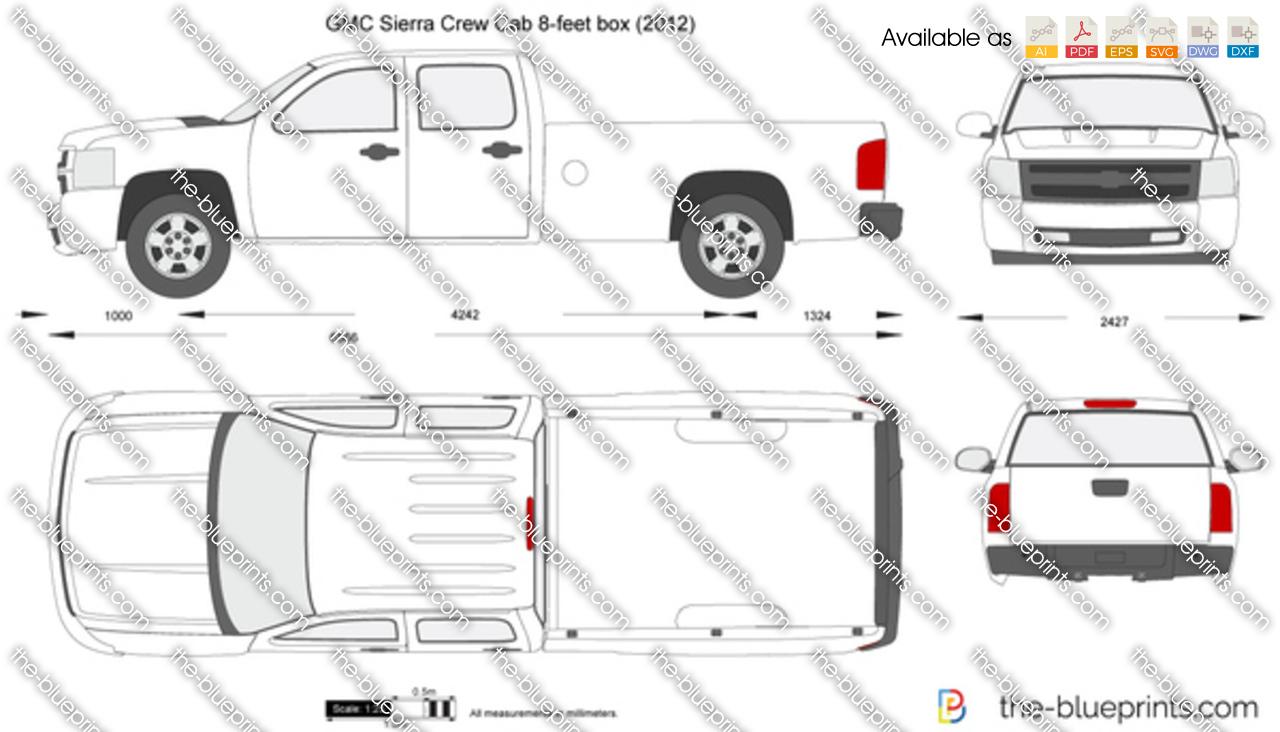 GMC Sierra Crew Cab 8-feet box vector drawing