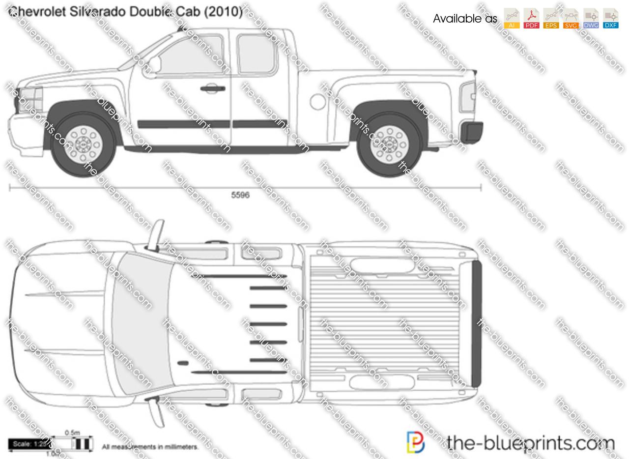 Chevrolet Silverado Double Cab Vector Drawing