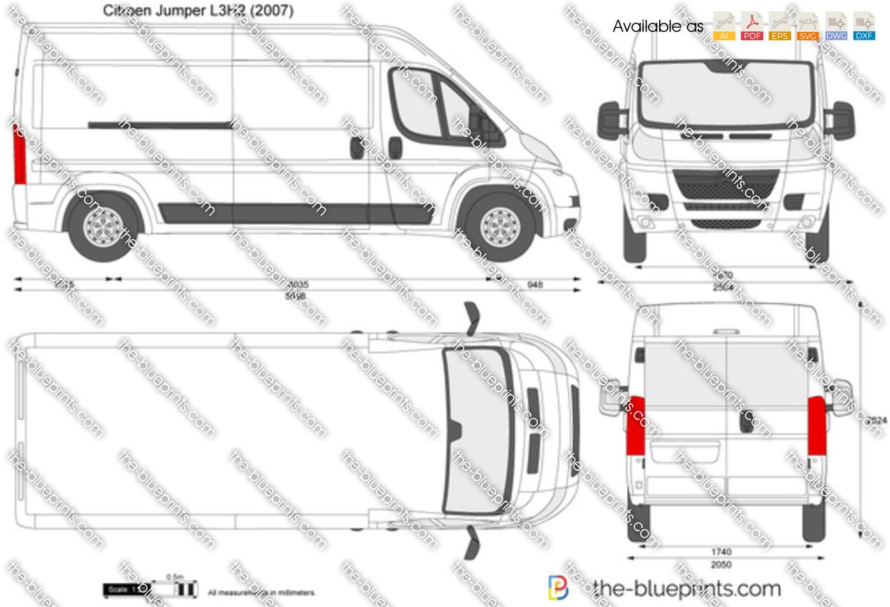 Citroen Jumper L3H2 vector drawing