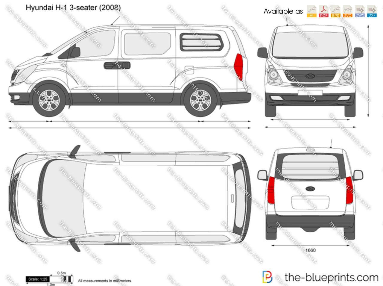 Hyundai H-1 3-seater Panel Van vector drawing