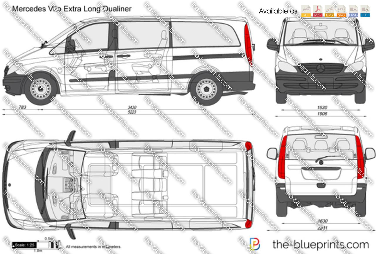 Mercedes Benz Vito Extra Long Dualiner Vector Drawing