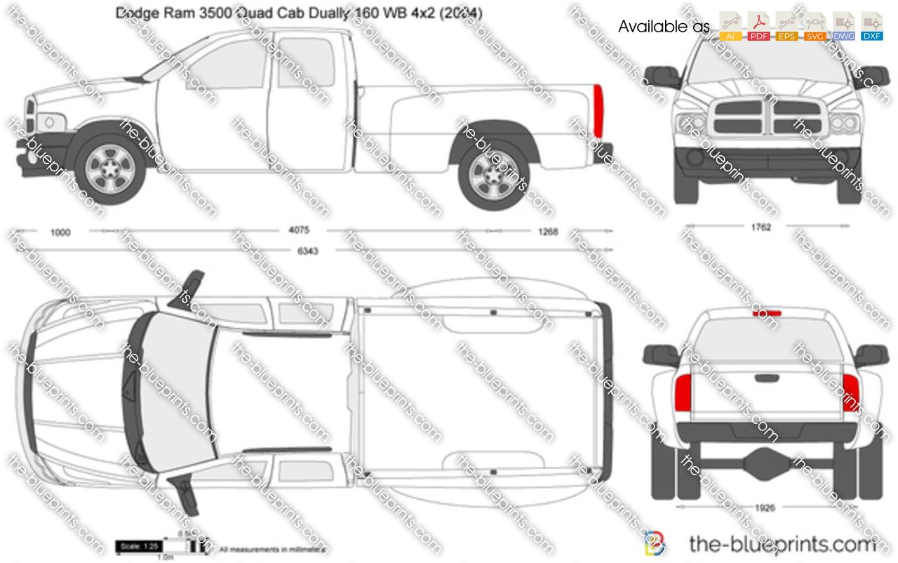 Dodge Ram 3500 Quad Cab Dually 160 WB 4x2 vector drawing