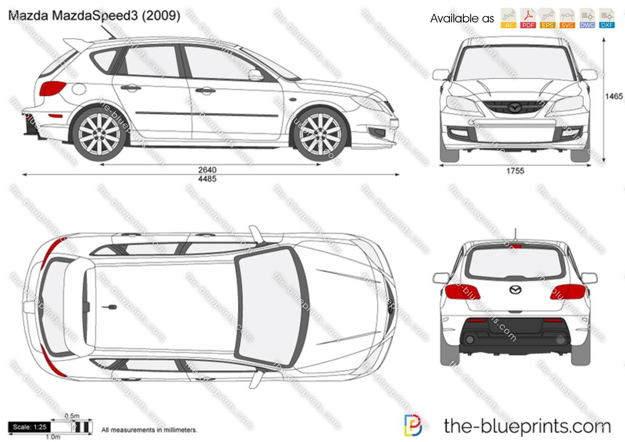 Mazda MazdaSpeed3 vector drawing