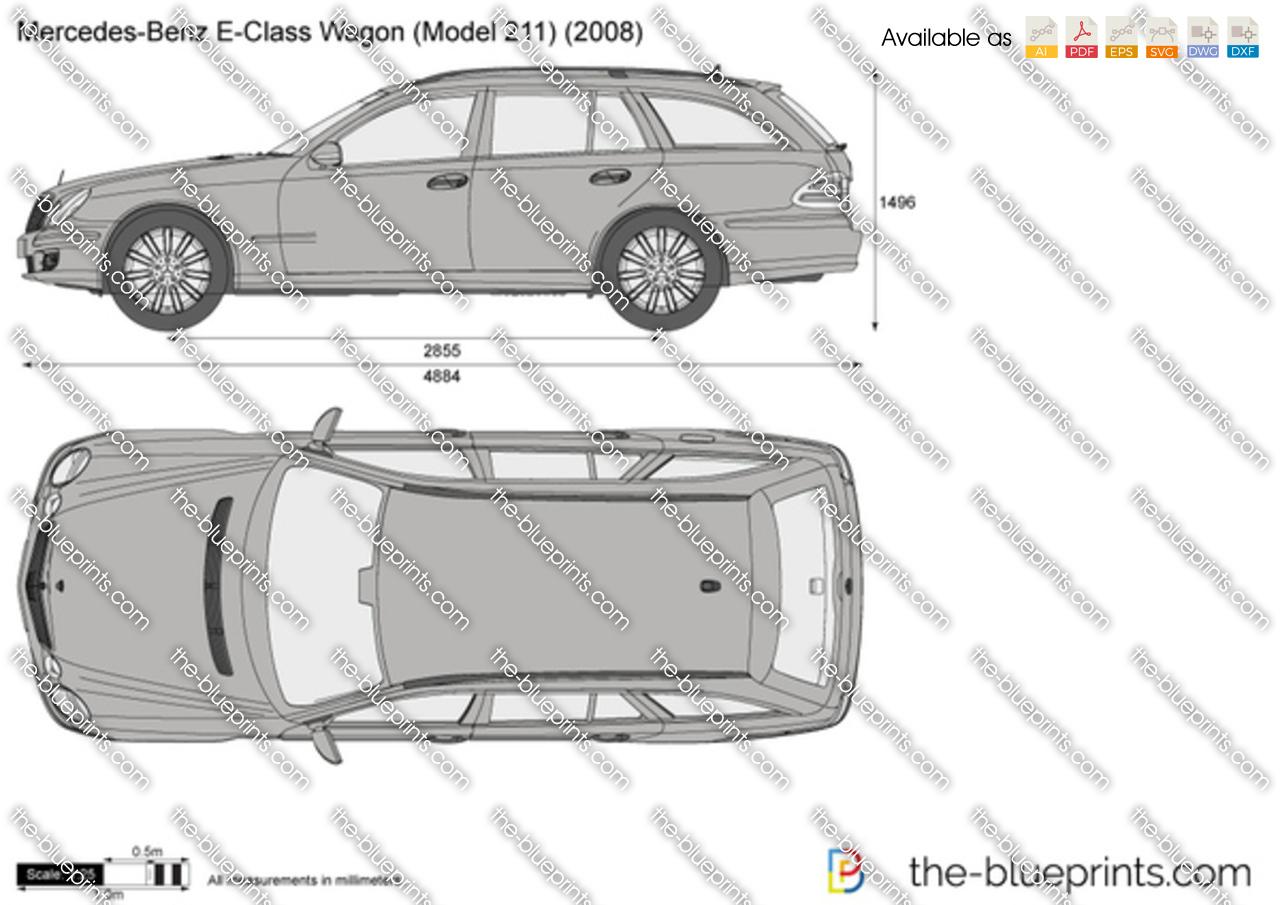 Mercedes-Benz E-Class Wagon W211 vector drawing