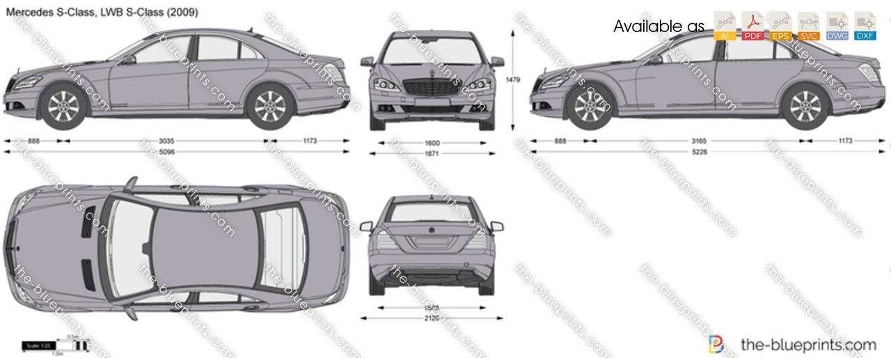 Mercedes-Benz S-Class W221 vector drawing