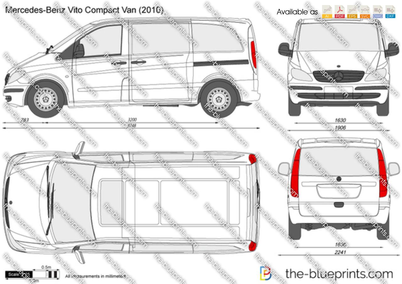 Mercedes Benz Vito Compact Van Vector Drawing
