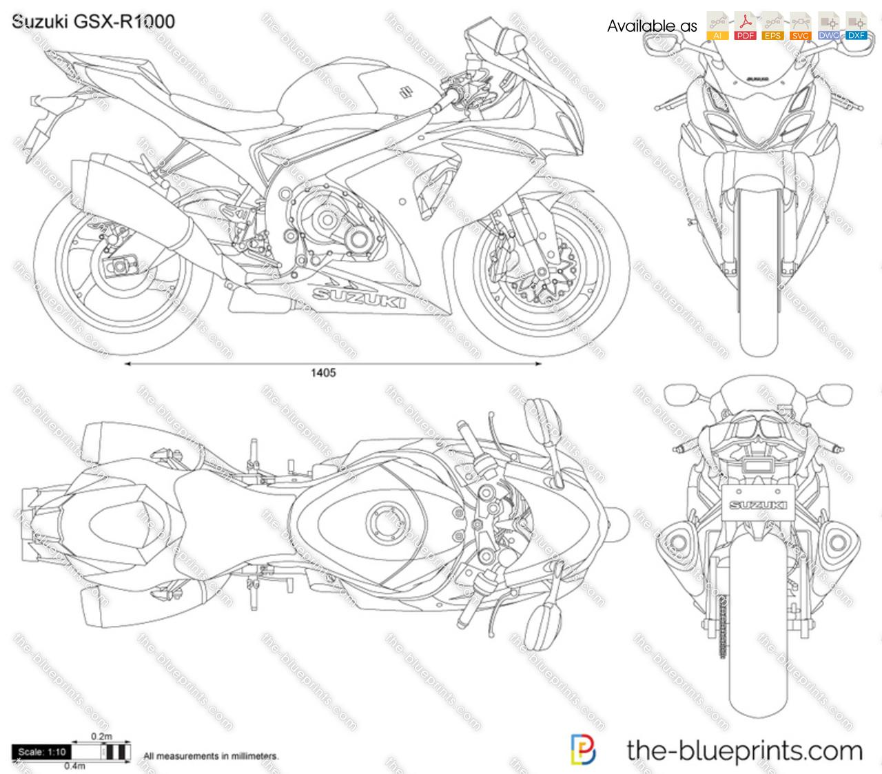 Suzuki GSX-R1000 vector drawing