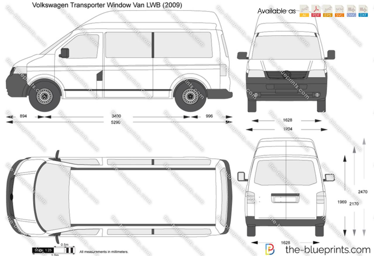 Volkswagen Transporter Window Van LWB vector drawing