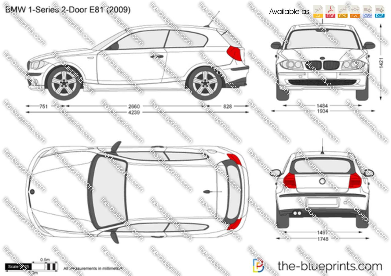 BMW 1-Series 2-Door E81 vector drawing