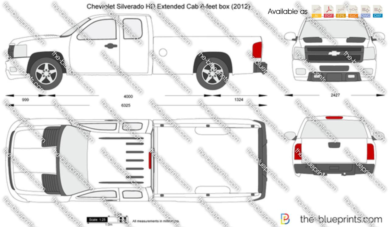 Chevrolet Silverado HD Extended Cab 8-feet box vector drawing