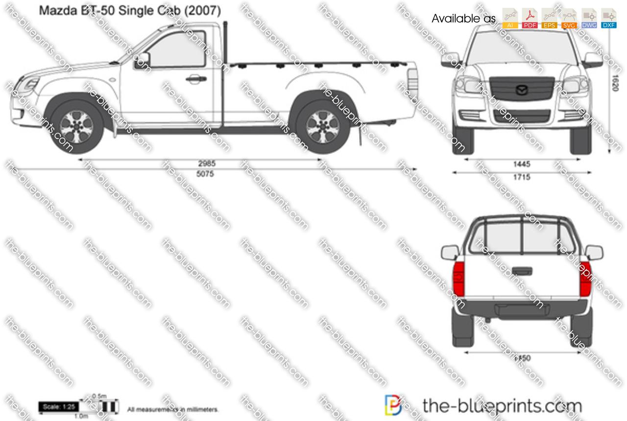 Mazda BT-50 Single Cab vector drawing