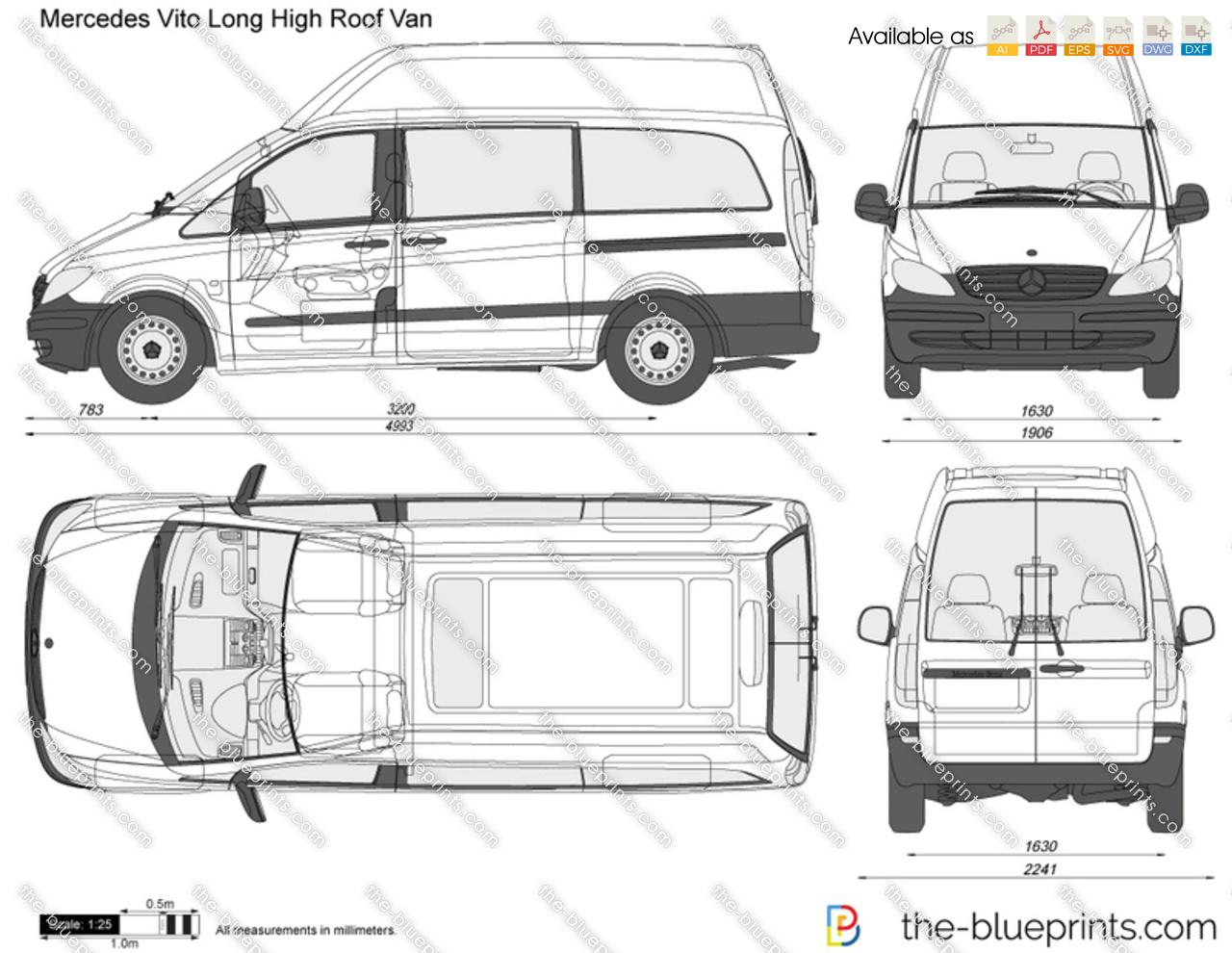 Mercedes-Benz Vito Long High Roof Van vector drawing