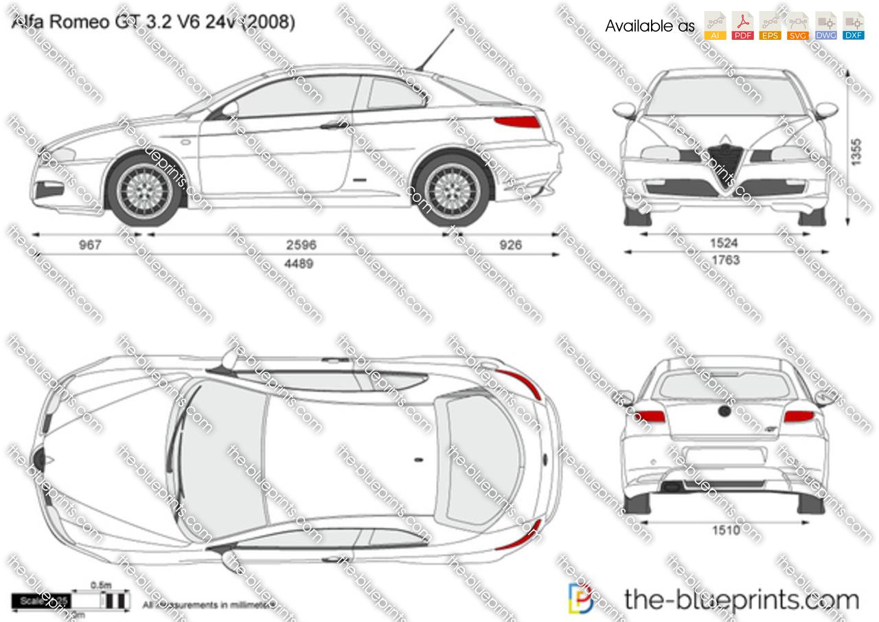 Alfa Romeo GT 3.2 V6 24v vector drawing
