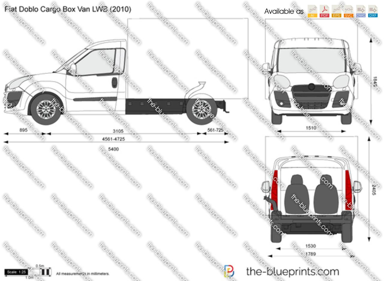 Fiat Doblo Cargo Box Van LWB vector drawing