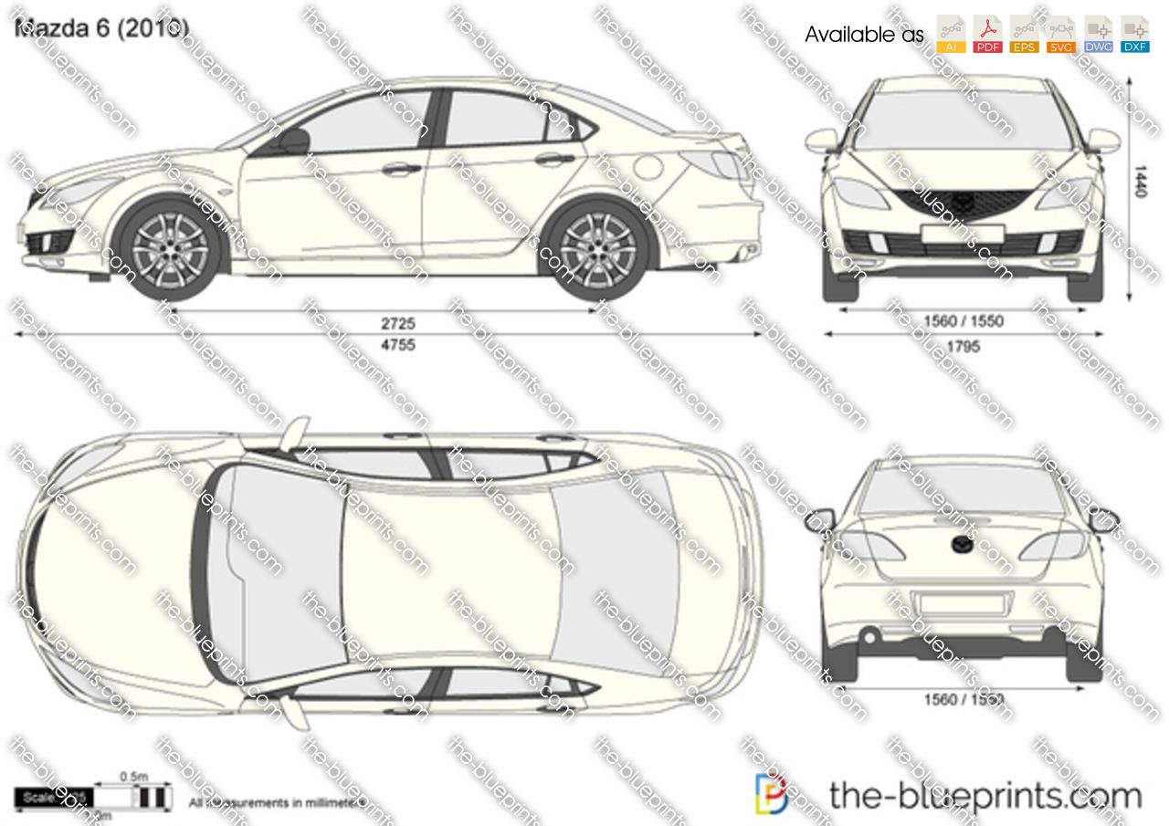 Mazda 6 4 Door Vector Drawing