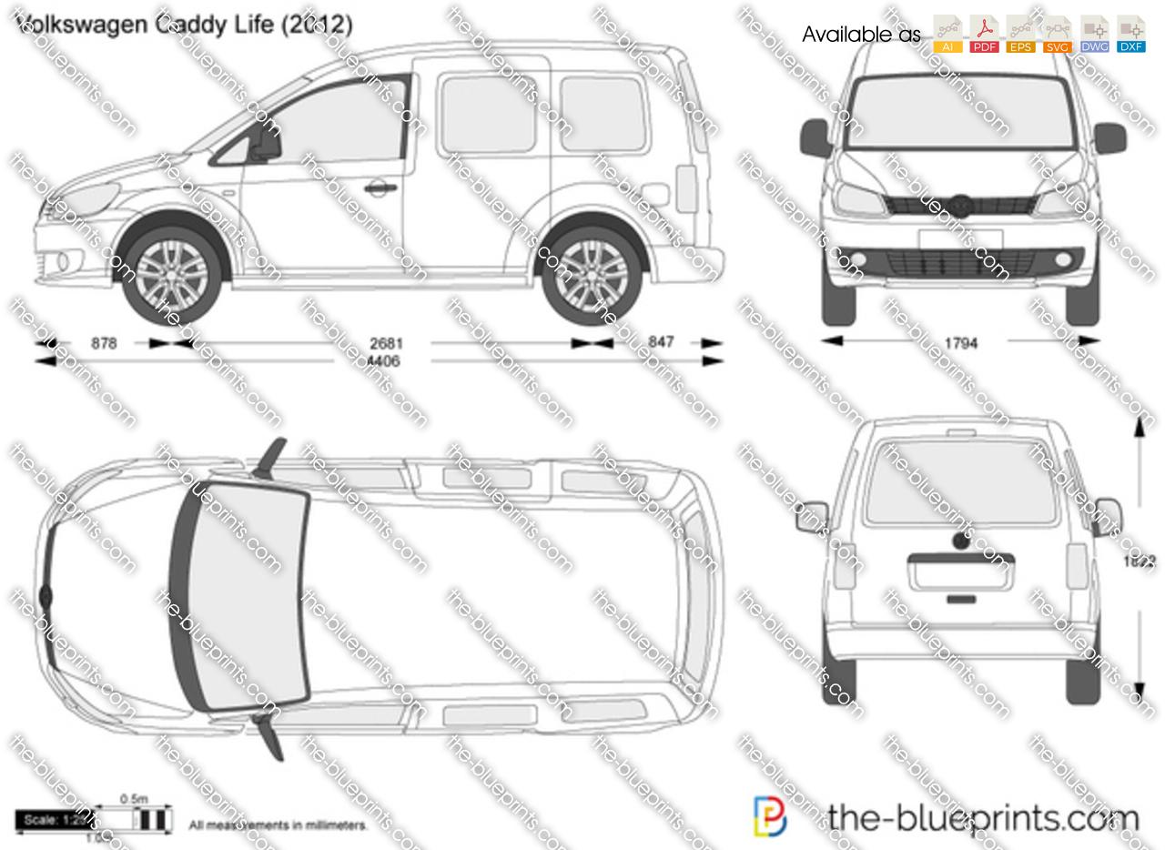 Volkswagen Caddy Life Vector Drawing