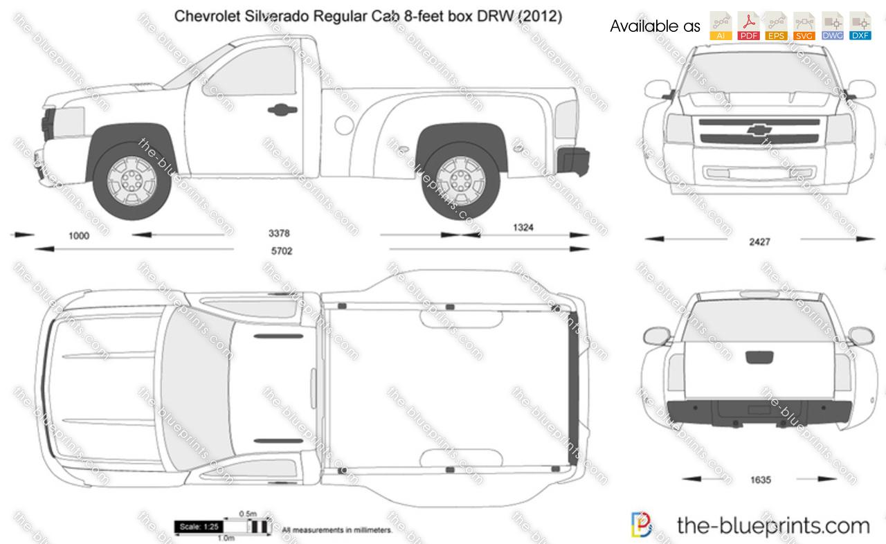 Chevrolet Silverado Regular Cab 8-feet box DRW vector drawing