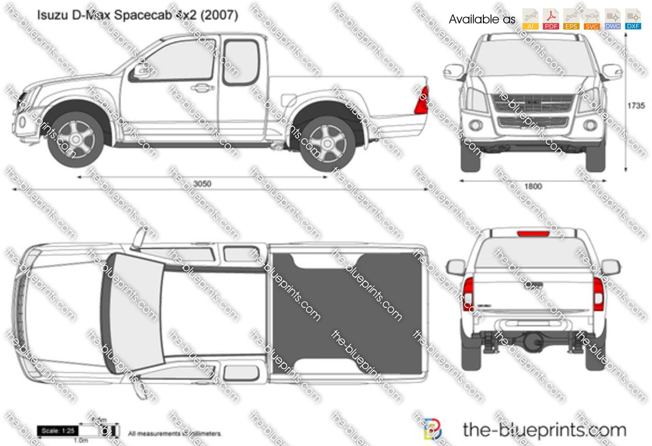 Isuzu D-Max Spacecab 4x2 vector drawing