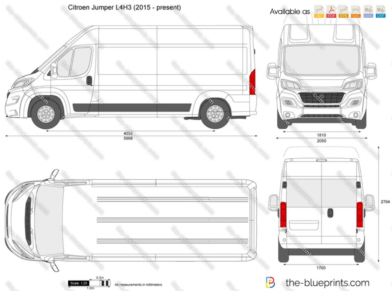 Citroen Jumper L4H3 vector drawing